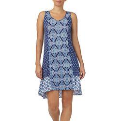Ellen Tracy Womens Mixed Medallion Print Tunic Nightgown