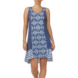 Womens Mixed Medallion Print Tunic Nightgown