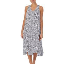 Ellen Tracy Womens Animal Print Midi Nightgown