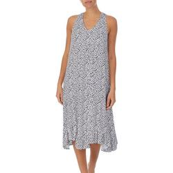Womens Animal Print Midi Nightgown