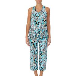 Ellen Tracy Womens Mixed Animal Sleevess Cropped PJ Set