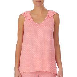 Ellen Tracy Womens Pin Dot Pajama Top