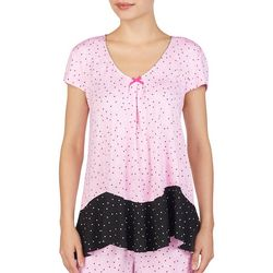 Ellen Tracy Womens Dotted Heart Short Sleeve Pajama Top