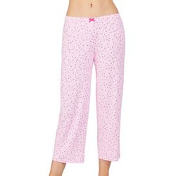 Ellen Tracy Womens Dotted Heart Cropped Pajama Pants