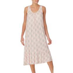Ellen Tracy Womens Print Midi Nightgown