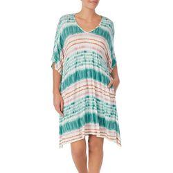 Ellen Tracy Womens Tie-Die Nightgown