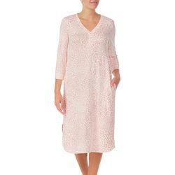 Ellen Tracy Womens Cozy Leopard Midi Nightgown
