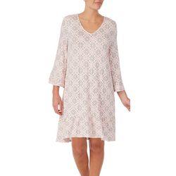 Ellen Tracy Womens Print 3/4 Sleeve Nightgown