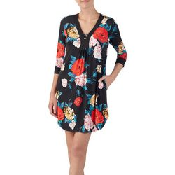 Ellen Tracy Womens Floral Print Tunic Nightgown