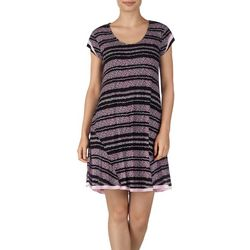 Ellen Tracy Womens Floral Stripe Flutter Nightgown
