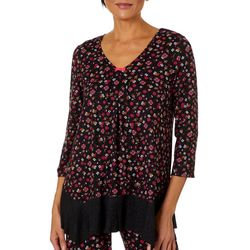 Ellen Tracy Womens Ditsy Floral Print Flutter Pajama Top