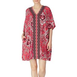 Ellen Tracy Womens Short Paisley Kaftan Nightgown