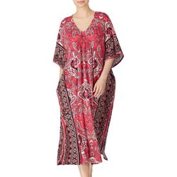 Ellen Tracy Womens Paisley Boho Kaftan Nightgown