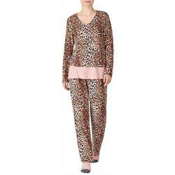 Ellen Tracy Womens V-Neck Leopard Print Pajamas &