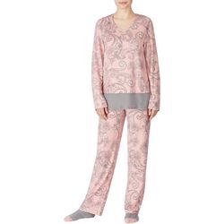 Ellen Tracy Womens V-Neck Paisley Print Pajamas &