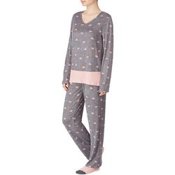 Ellen Tracy Womens V-Neck Flamingo Print Pajamas & Socks Set