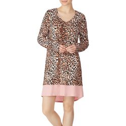 Ellen Tracy Womens Leopard Print Long Sleeve Nightgown