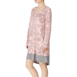 Ellen Tracy Womens Paisley Print Long Sleeve Nightgown