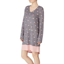 Ellen Tracy Womens Flamingo Print Long Sleeve Nightgown