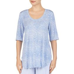 Ellen Tracy Womens Heathered Chest Pocket Pajama Top