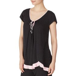 Ellen Tracy Womens Polka Dot Print Scalloped Hem Pajama Top