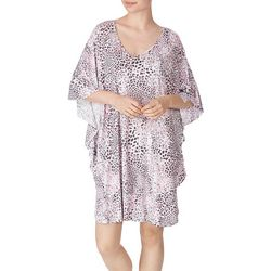 Ellen Tracy Womens Short Leopard Print Kaftan Nightgown