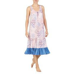 Ellen Tracy Womens Tile Print Sleeveless Midi Nightgown