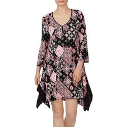 Ellen Tracy Womens Short Patchwork Kaftan Nightgown