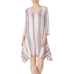 Ellen Tracy Womens Paisley Stripe 3/4 Sleeve Tunic