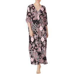 Ellen Tracy Womens Patchwork Print Boho Kaftan Nightgown