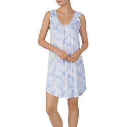 Ellen Tracy Womens Tie Dye Flutter Sleeve Nightgown