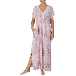 Ellen Tracy Womens Floral Tile Print Long Kaftan