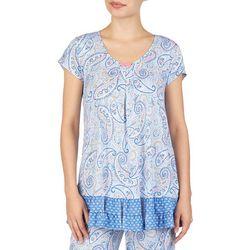 Ellen Tracy Womens Paisley Print Ruffle Pajama Top