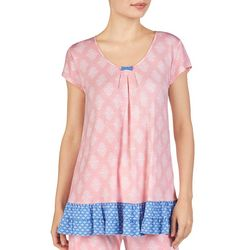 Ellen Tracy Womens Damask Ruffle Short Sleeve Pajama Top