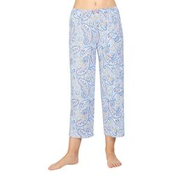Ellen Tracy Womens Paisley Print Cropped Pajama Pants