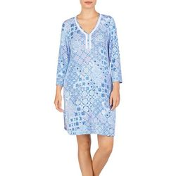 Ellen Tracy Womens Floral Tile Print Nightgown
