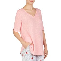 Ellen Tracy Womens Heathered Over the Elbow Pajama Top
