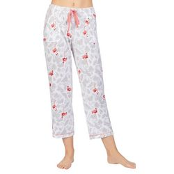 Ellen Tracy Womens Flamingo Palm Cropped Pajama Pants