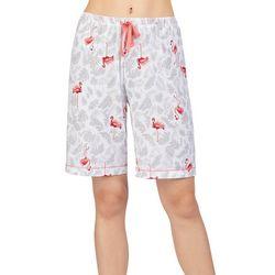 Ellen Tracy Womens Flamingo Palm Bermuda Pajama Shorts