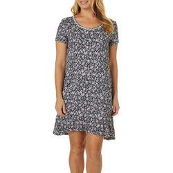 Ellen Tracy Womens Ditsy Floral Ruffle Trim Nightgown