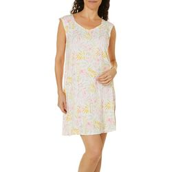 Ellen Tracy Womens Tropical Floral Sleeveless Nightgown