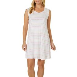 Ellen Tracy Womens Stripe Print Sleeveless Nightgown