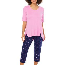 Ellen Tracy Womens Flamingo Print Pajama Capris Set