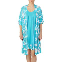 Ellen Tracy Womens Banana Leaf Chemise & Kimono Resort Set