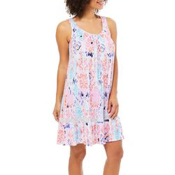Ellen Tracy Womens Ikat Sleeveless Nightgown