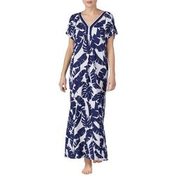 Ellen Tracy Womens Banana Leaf Long Kaftan