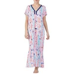 Ellen Tracy Womens Ikat Print Long Kaftan