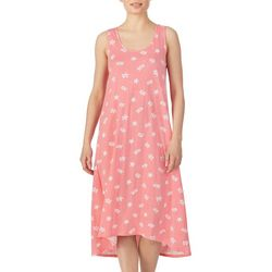 Ellen Tracy Womens Turtle Print Midi Nightgown