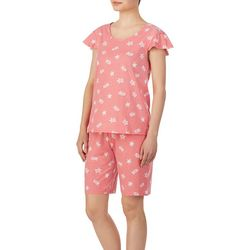Ellen Tracy Womens Sea Turtle Print Pajama Bermuda Set