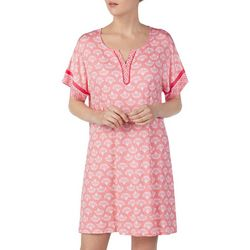 Ellen Tracy Womens Fan Print Tunic Nightgown